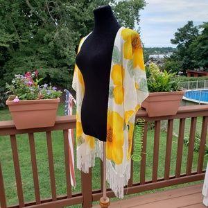 Fabulous Floral Fringe Kimono Yellow Cardi NWT